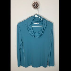 NWOT Laurie Blue Cowl Neck Long Sleeve Pullover